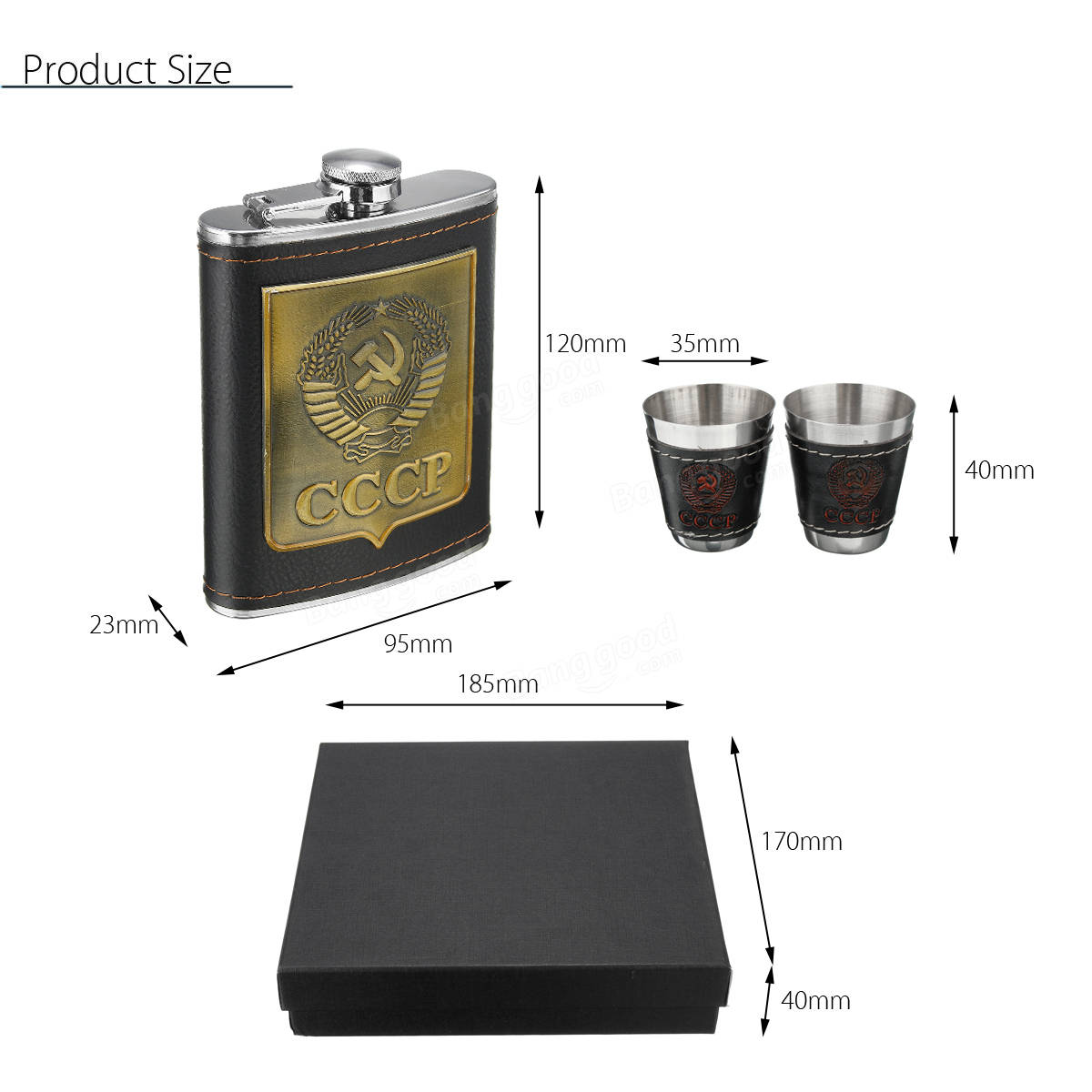 IPRee™  Outdoor 8oz Liquor Bottle CCCP Stainless Steel Hip Flask Whiskey Cup Funnel