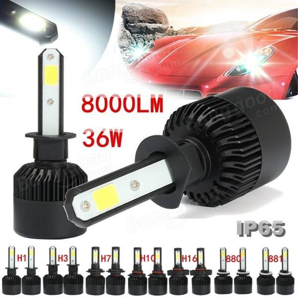 Pair 36W 4000LM 6500K H1 H3 H7 H10 H16 880 881 COB LED Car Headlight High Low Beam Bulbs