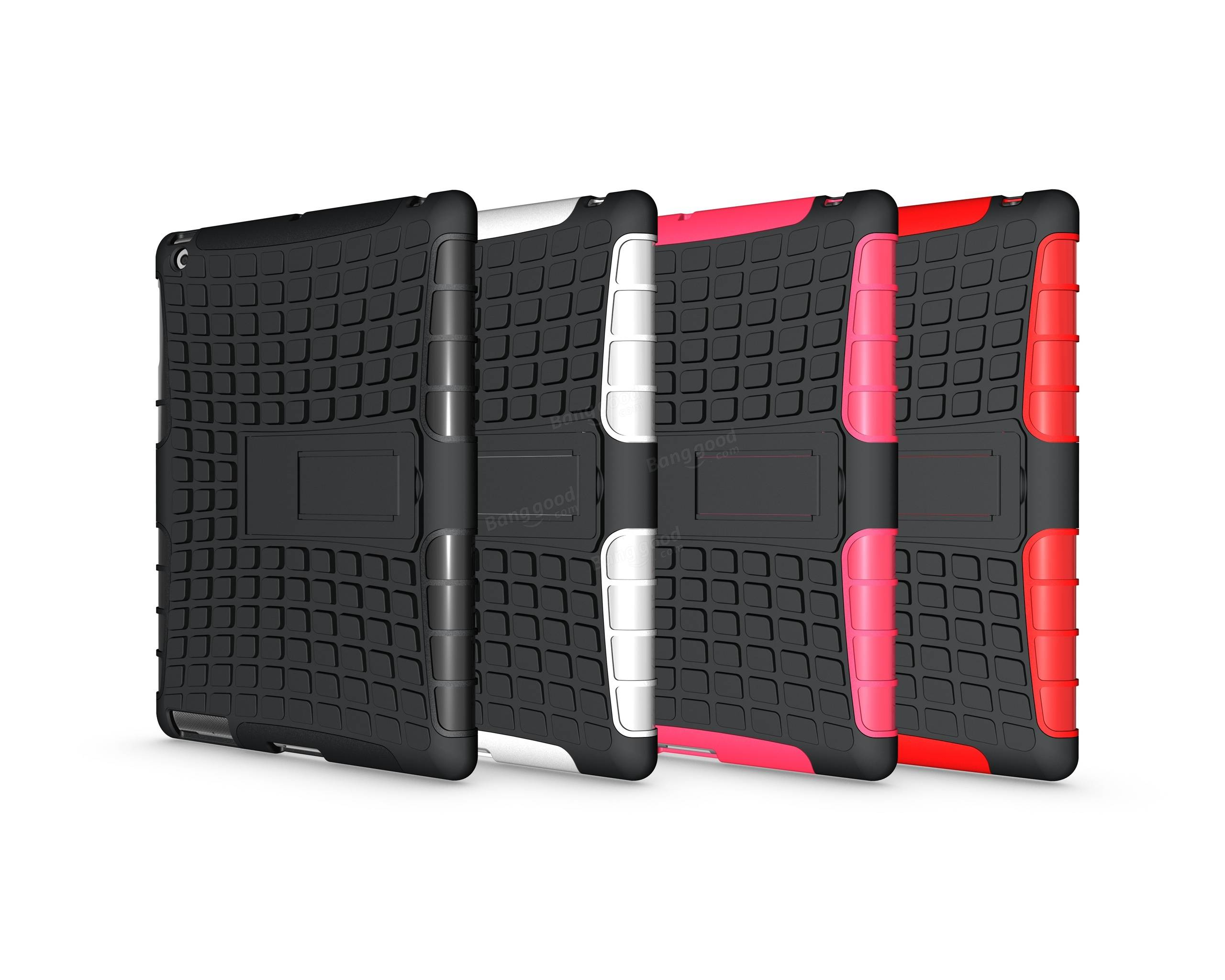 Shockproof Anti-skid Kickstand Case Hybrid Soft Hard Rugged Case Cover For iPad 2/3/4
