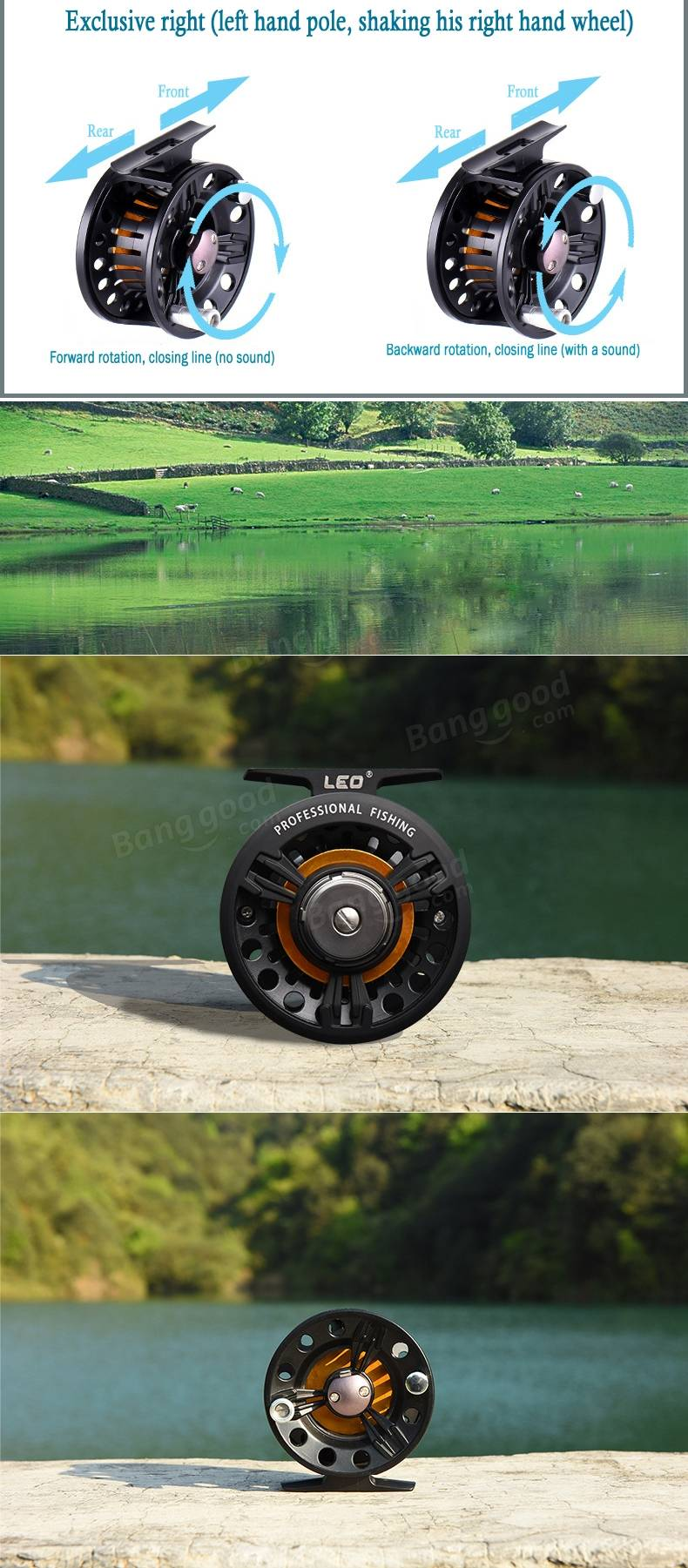 Metal fly fishing reel interchangeable front end fishing for Fly fishing raft for sale