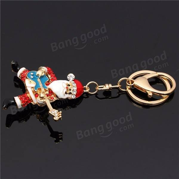 Car Key Chain Ring Santa Claus head Rhinestone Metal KeyChain Pendant Purse Bag
