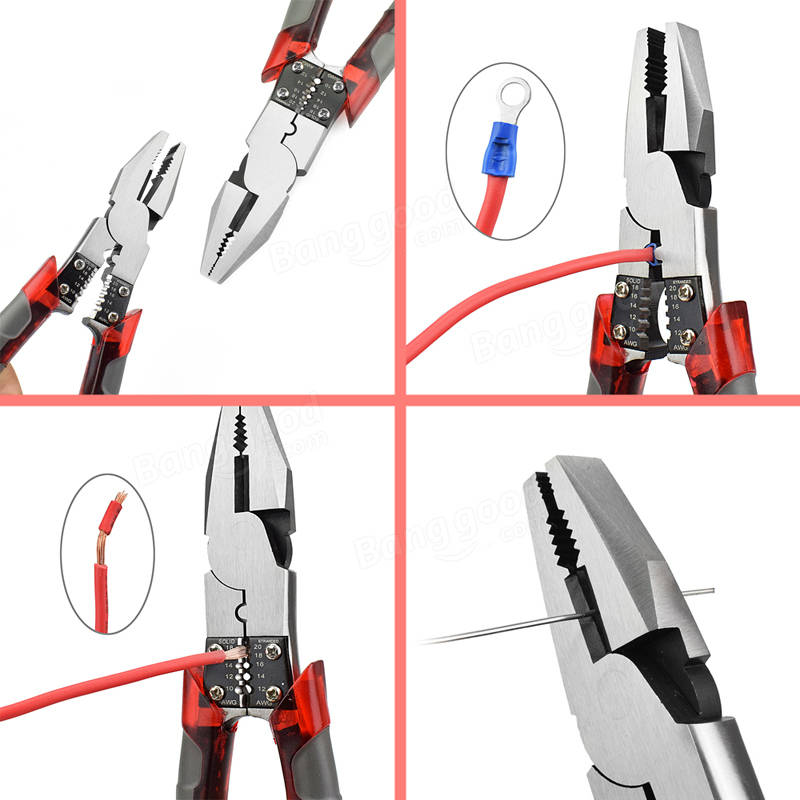 8inch Professional Tool Multifunction Wire Plier Stripper Crimper Cutter Needle Nose Nipper Jewelry Tool Diagonal