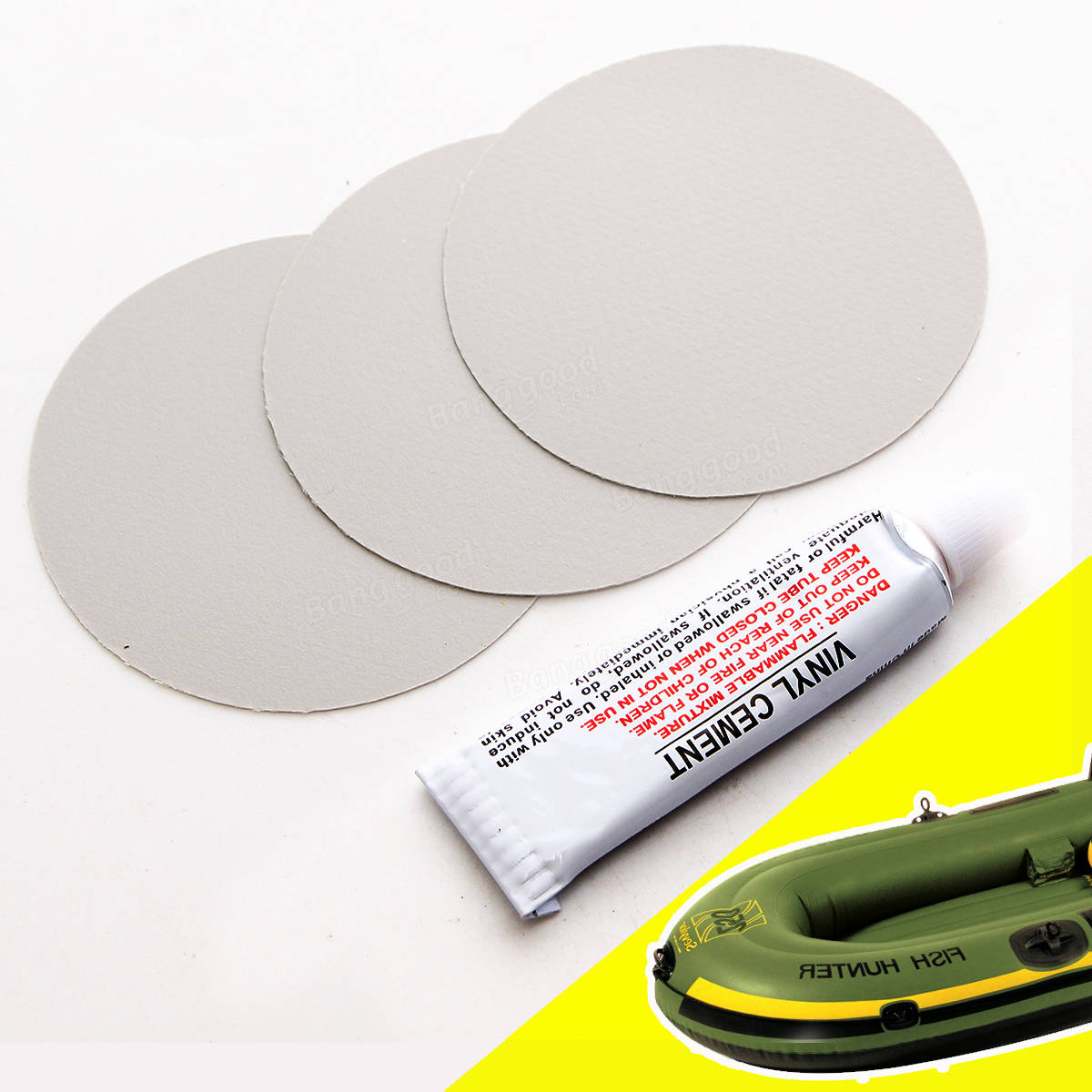 3Pcs Circular PVC Repair Patches with Vinyl Cement Glue For Rubber Boat