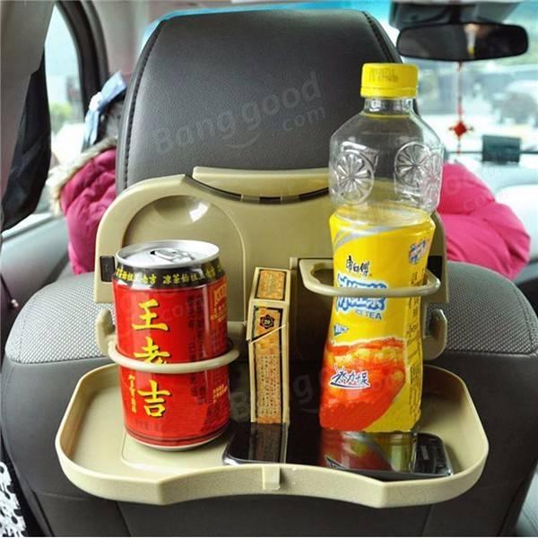 Dobrando a bandeja traseira do assento Suporte da bebida da água do automóvel Suporte do copo do carro Montagem Cinzento Preto