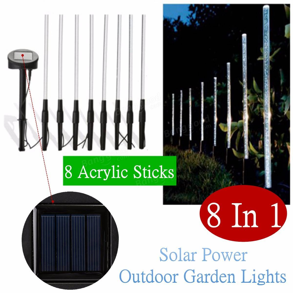 acrylic led solar power light outdoor pathway garden lawn lighting