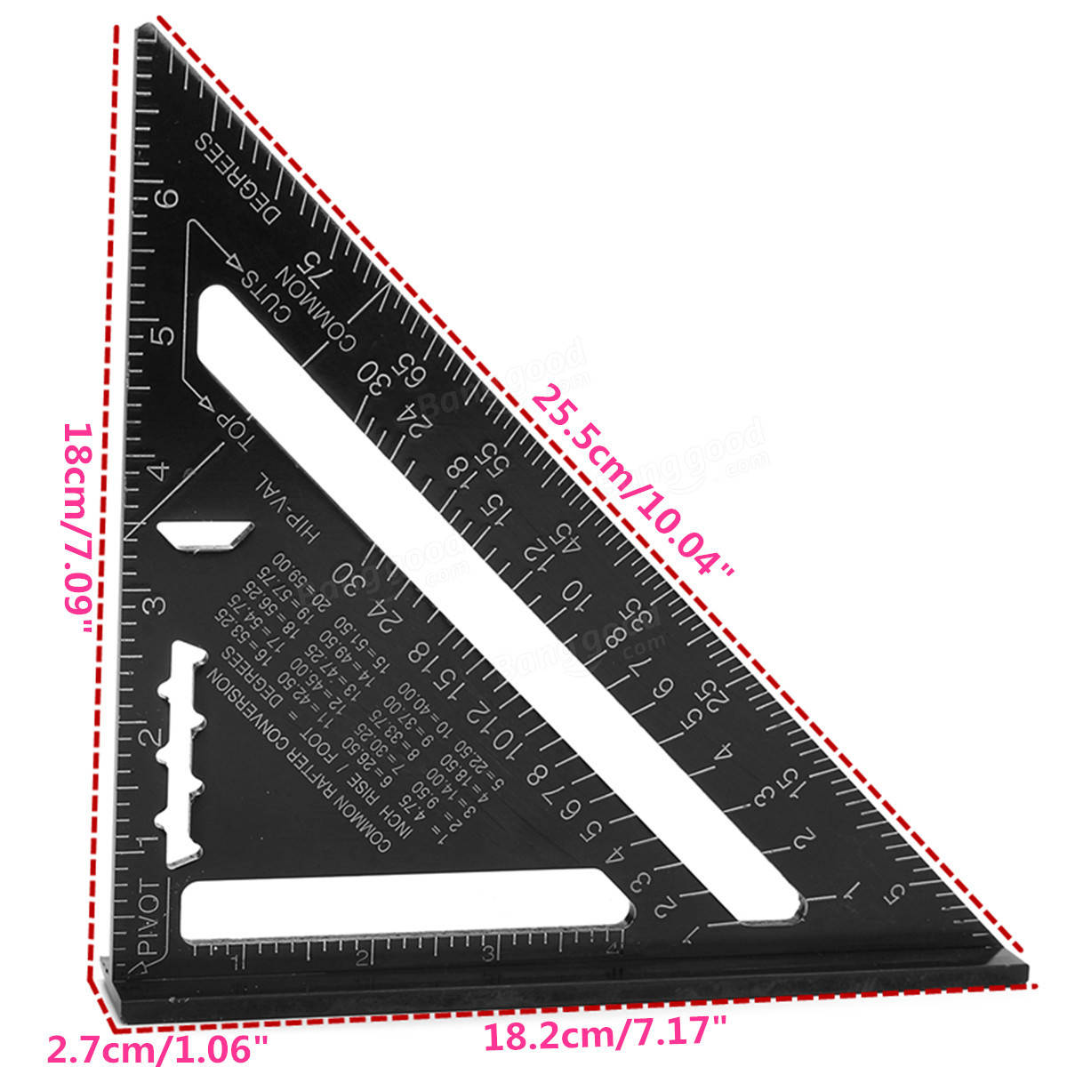 7inch Aluminum Alloy Triangle Angle Protractor Speed Square Measuring Ruler Miter Metric/Inch