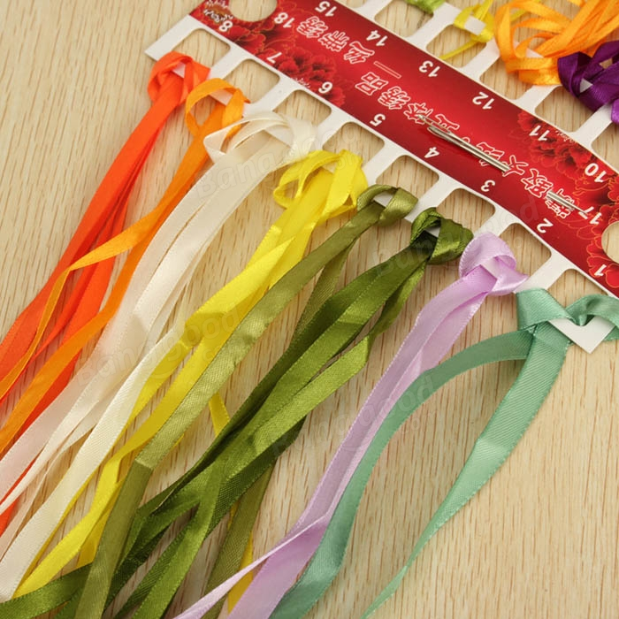 30x30cm 3d silk ribbon bouquet cross stitch kit embroidery for Hand work decoration