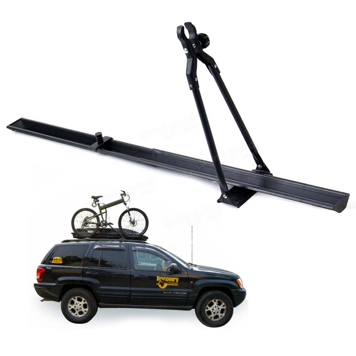 BIKIGHT Universal Car Roof Bike Carrier Top Mount Rack Bicycle Racks Travel Outdoors 150cm Fit for Most Car