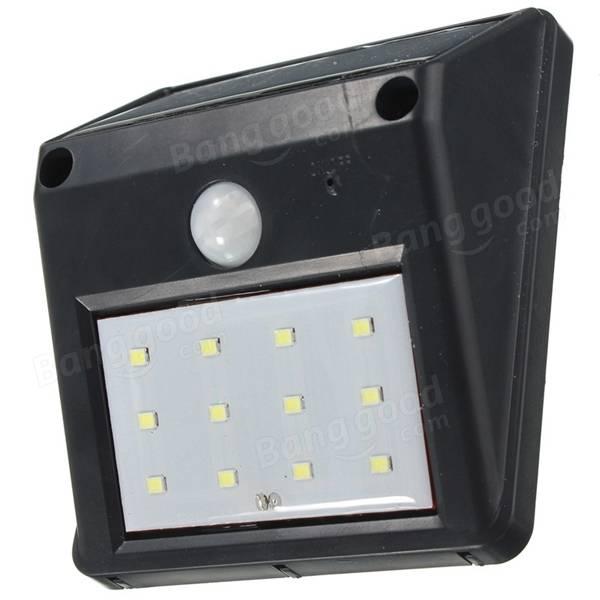 Battery Powered Outdoor Lights Nz: 12 LED Solar Powered PIR Motion Sensor Light Outdoor