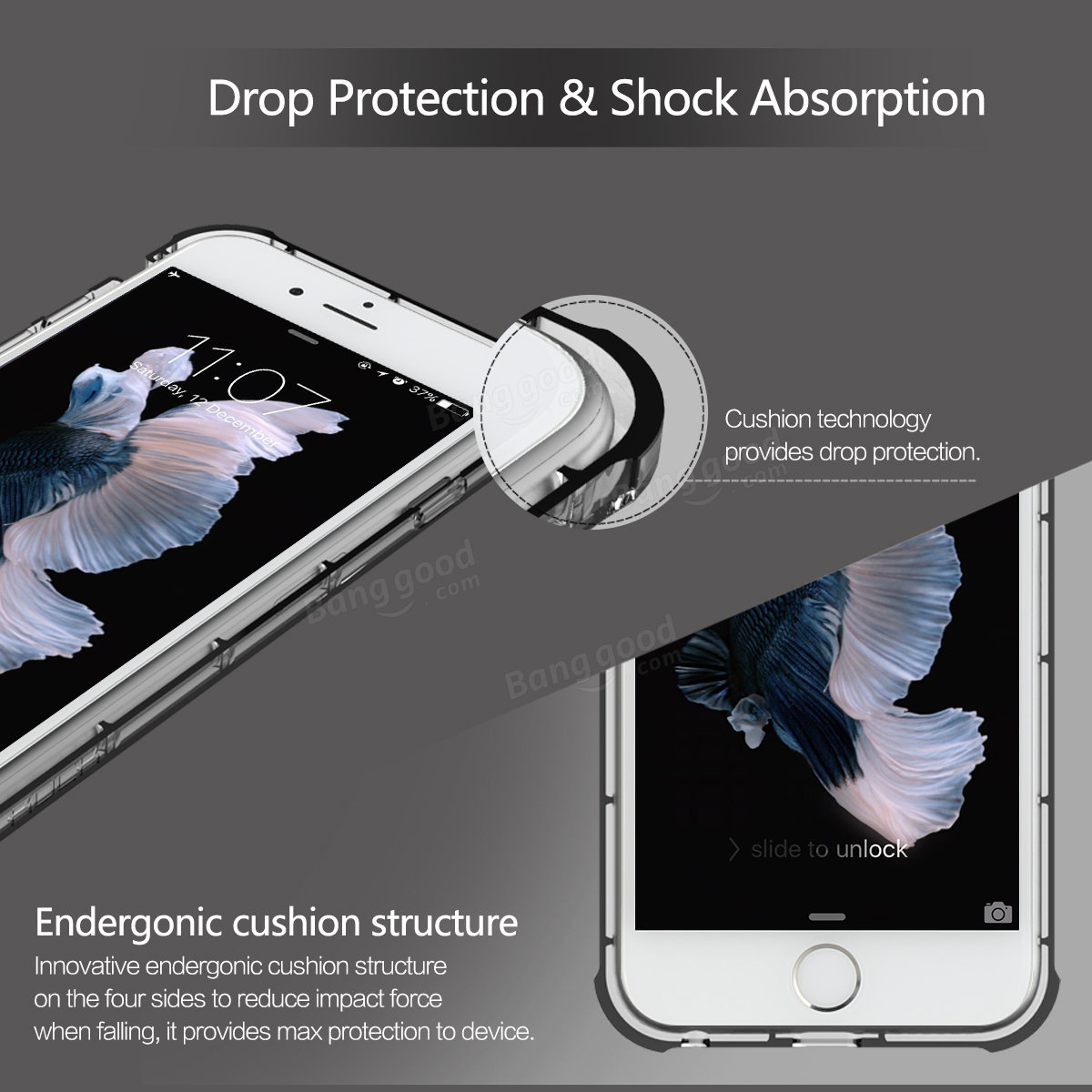 ROCK Fence Series Clear TPU Drop Protection 4.7 Inch Case With Detachable Neck Strap For iPhone6 6s