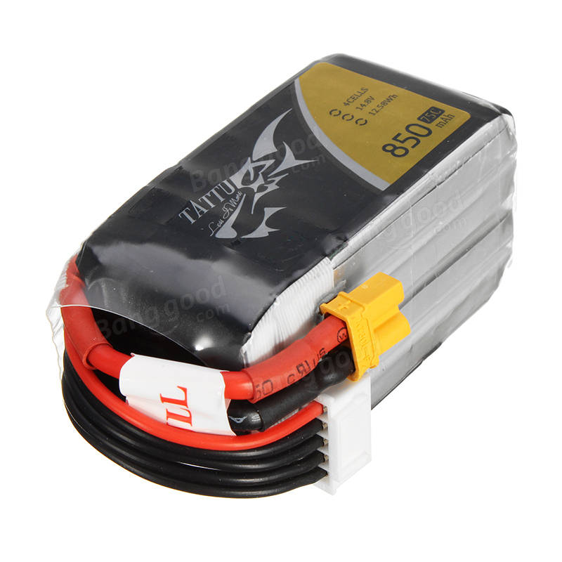 TATTU 14.8V 850mAh 75C 12.58Wh 4S XT30U-F Plug Lipo Battery for RC Racing Drone