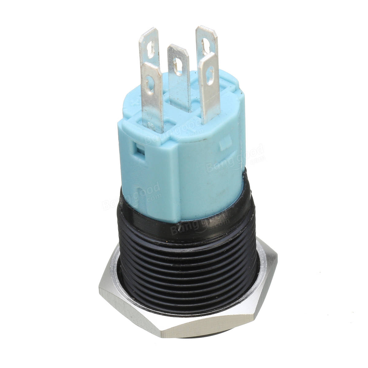 5 Pin 16mm 12V LED Light Stainless Steel Push Button Momentary Switch