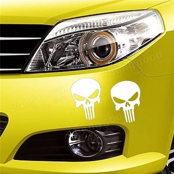 Skeleton Skull Car Sticker THE PUNISHER Tank Cup Reflective Decal 14*14cm