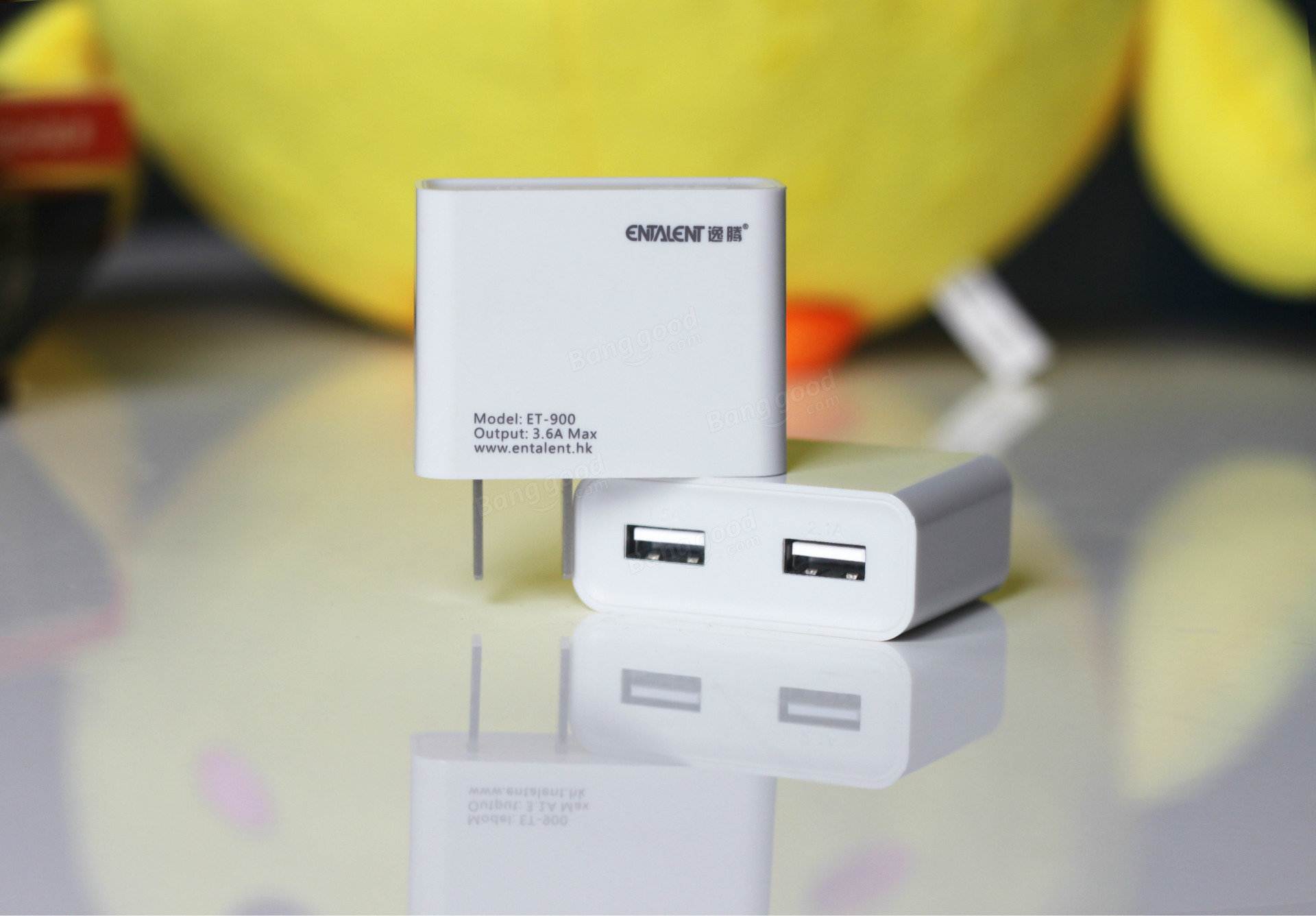 ENTALENT 2.1A General Portable Double USB Ports Charger Plug For iPhone iPad Samsung Xiaomi HTC