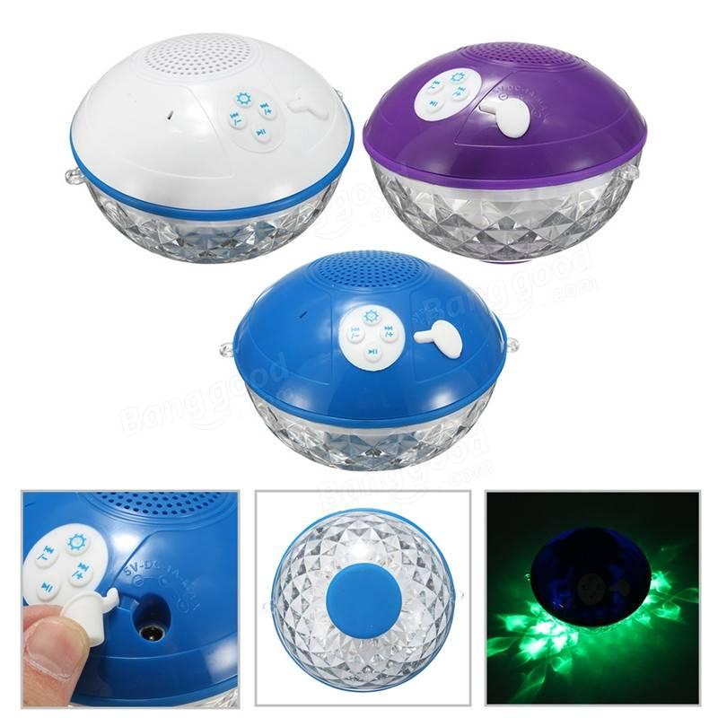 Waterproof floating bluetooth speaker rgb led flash light for pool bath shower sale for Waterproof speakers for swimming pools