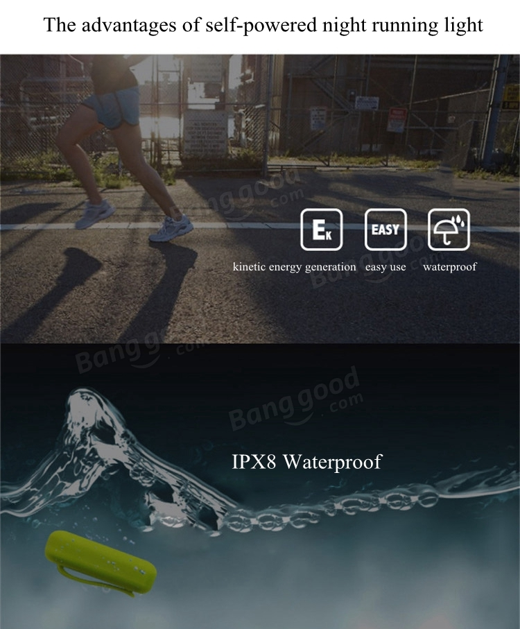 Self Powered LED Night Safety Running Light Multifunctional IPX8 Waterproof Lamp Automatic Switch Kinetic Energy Light