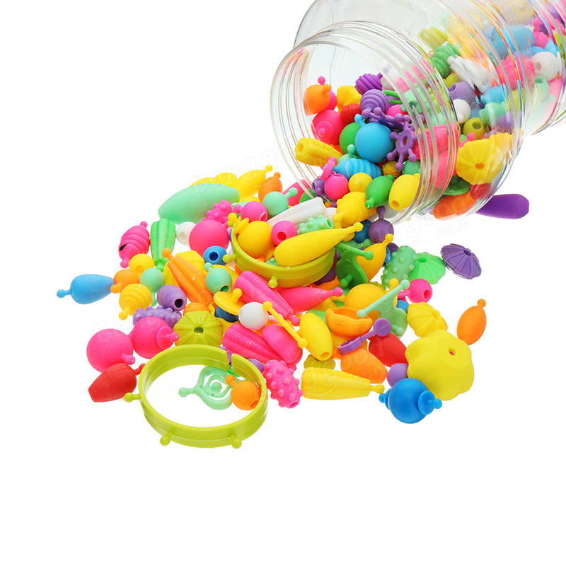 380PCS Pop Beads Toys Snap Together Necklace And Bracelet Crafts Jewelry Kit DIY Educational Toys