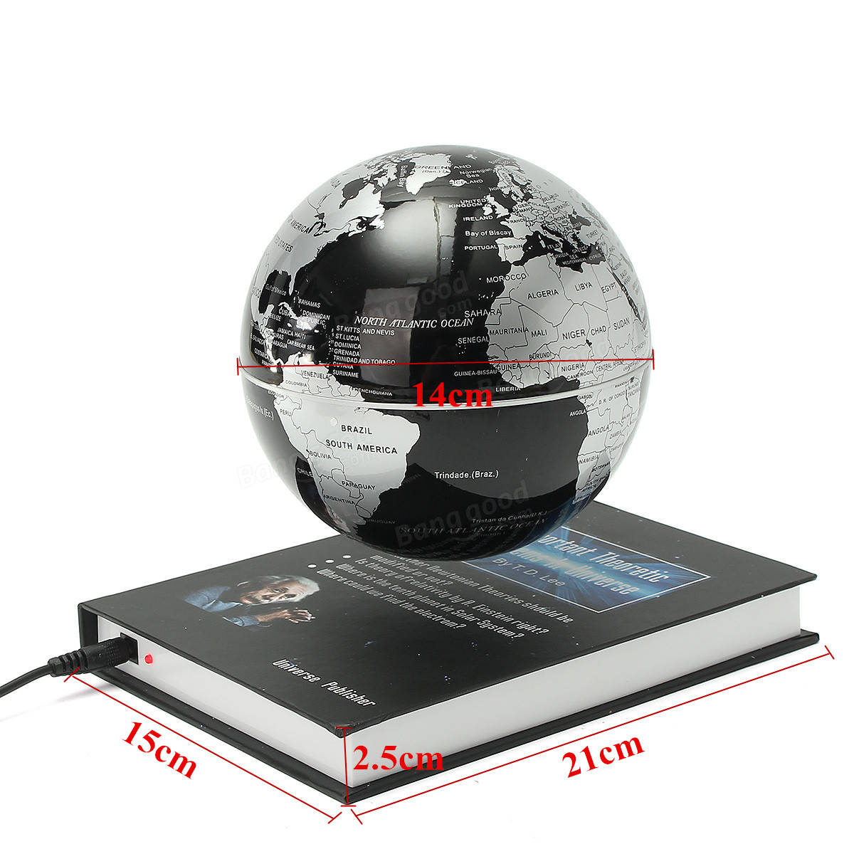 6 Inch Rotatable Magnetic Levitation Globe Floating Earth World Map Book Style Platform Education