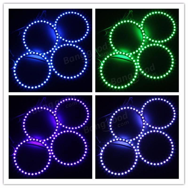 4PCS RGB 100MMマルチカラー5050フラッシュLED SMD 12Vエンジェルアイズ+リモートコントロール