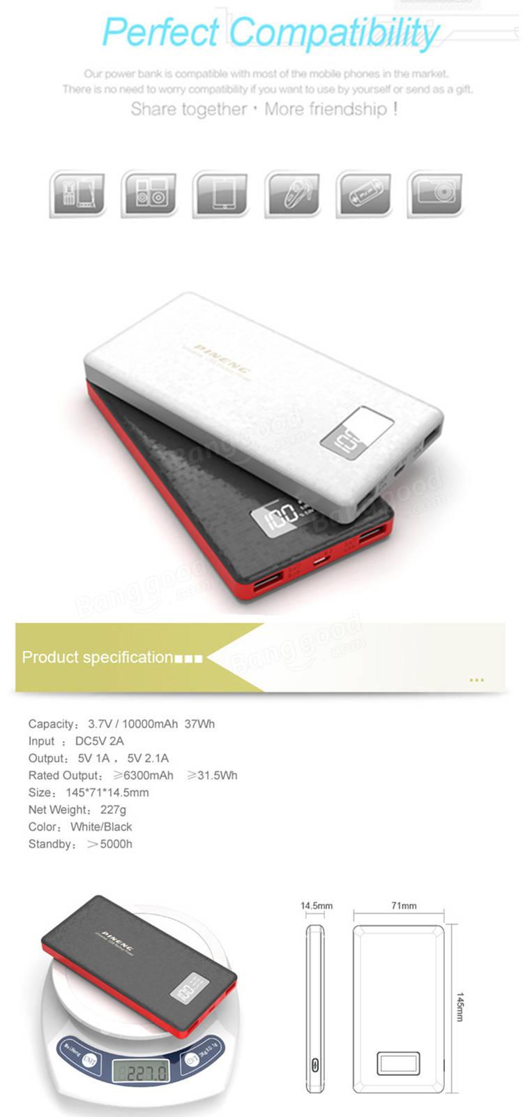 PINENG PN-963 10000mAh DC5V 2.1A Dual Output Power Bank for Samsung Xiaomi