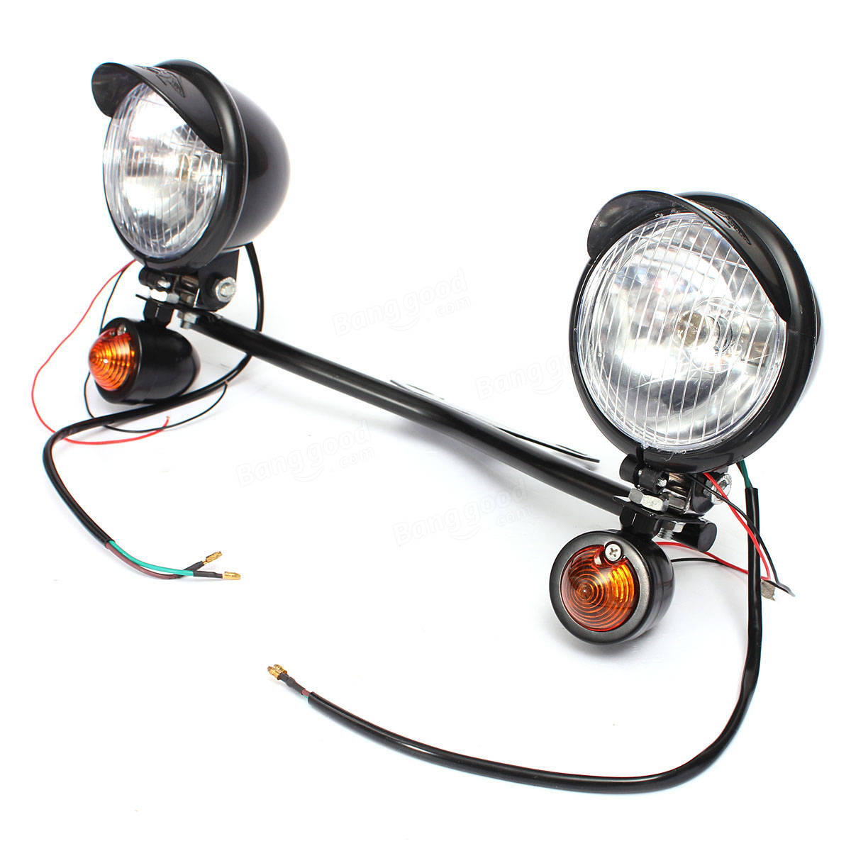 Motorcycle Spot Light Bar Set With Two Turn Signals For Harley Custom