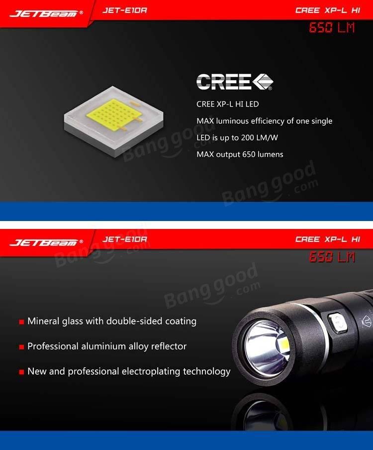 Jetbeam E10R XPL-H1 650LM 14500 / AA EDC LED Flashlight