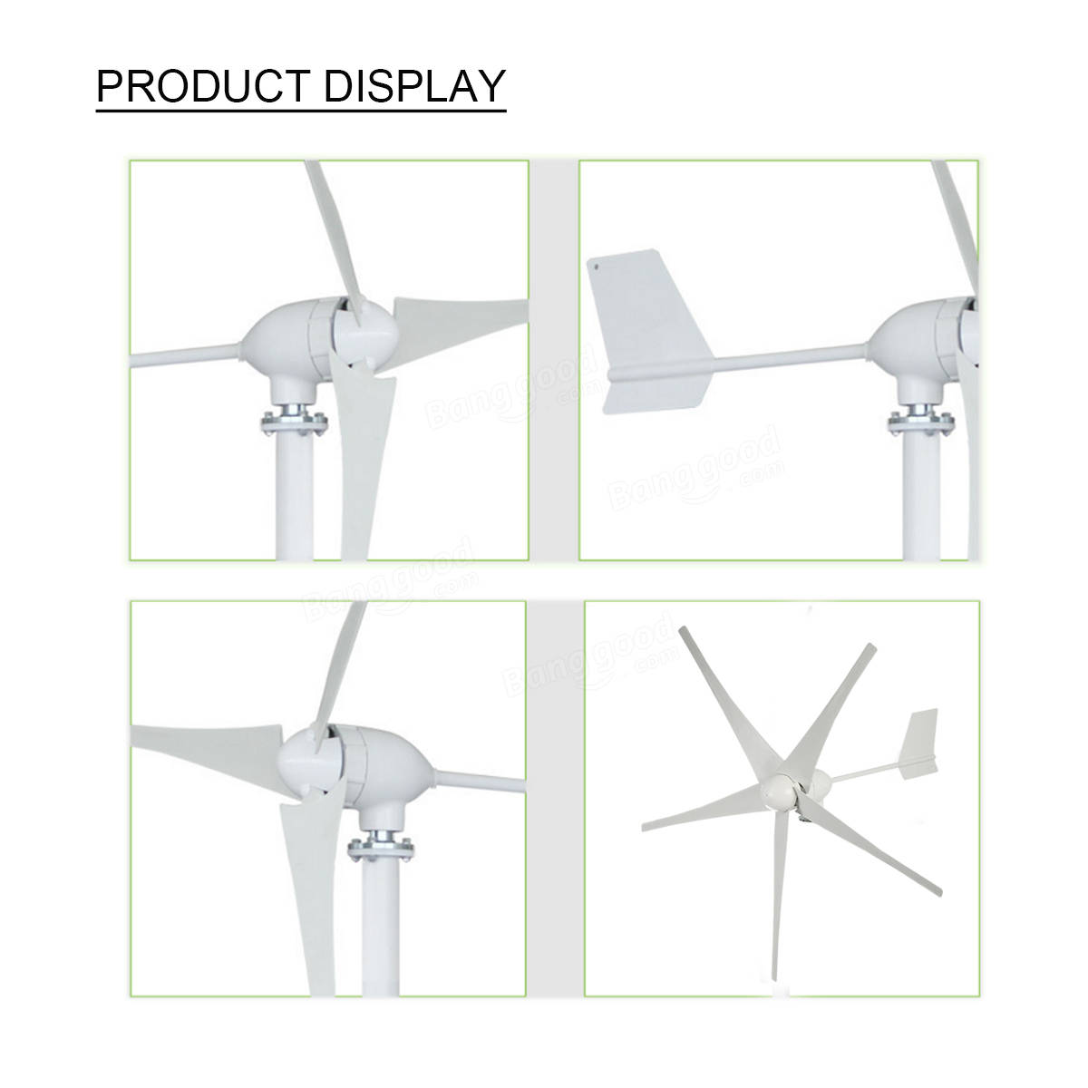 3 5 Blades 600W 24V 48V Small Horizontal Wind Turbine Generator Power Supply Kit