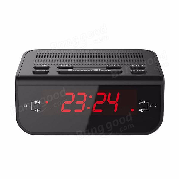 CR246 Red LED Display Digital FM Radio Dual Alarm Clock With Buzzer Snooze Function