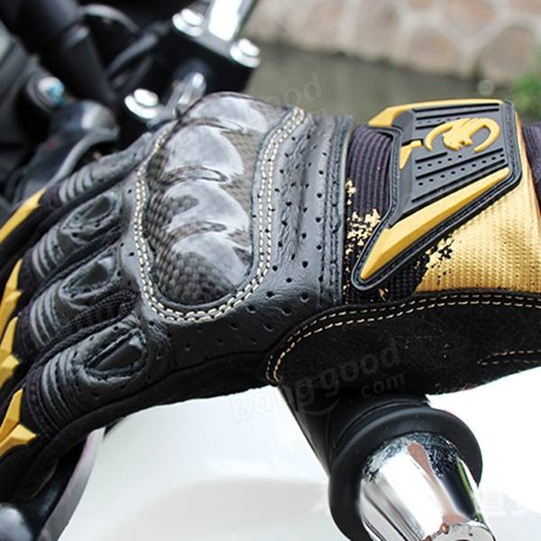 Touch Screen Anti-Skidding Anti-shock Leather Gloves Racing Wear-resisting For Four Seasons