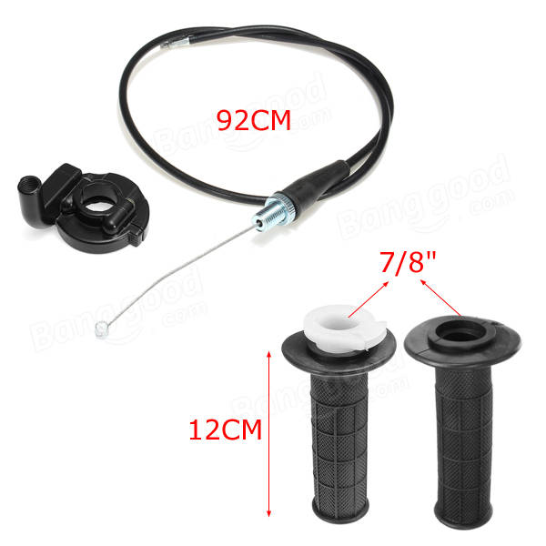 7/8 inch 22mm Throttle Cable & Handle bar Grip & Casing Set for Suzuki Motor Black
