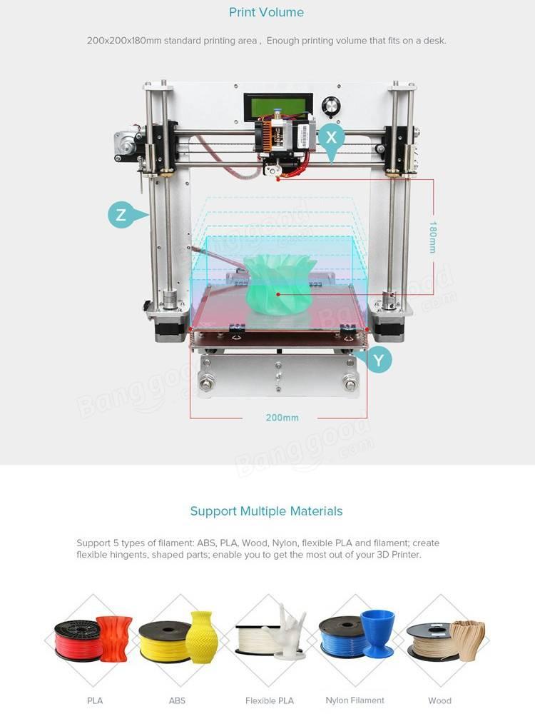 Geeetech® Aluminum Prusa I3 3D Printer DIY Kit Support 5 Filament