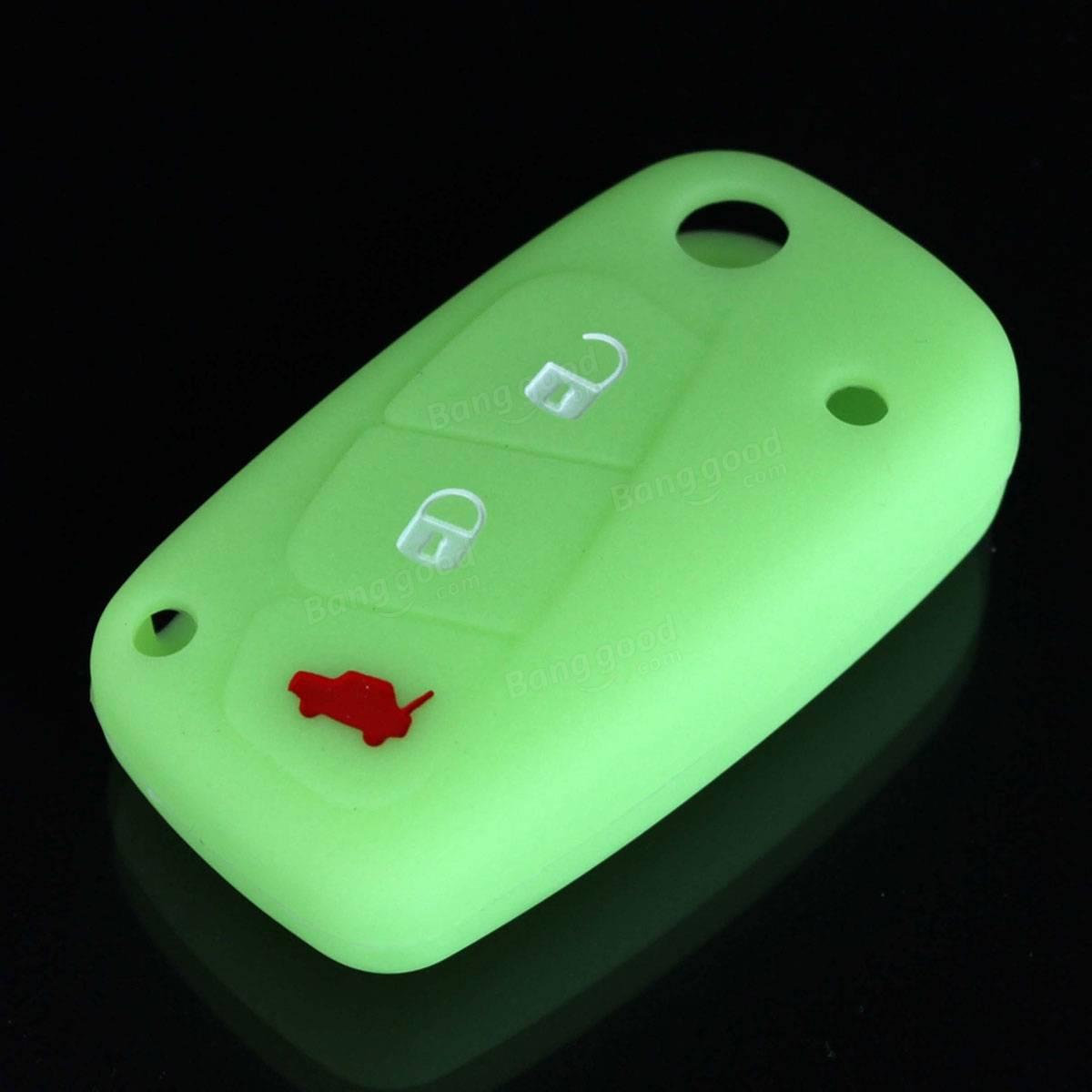 1PC 3 Buttons Luminous Silicone Car Key Case Cover for FIAT Panda Stilo Punto Doblo Grande Bravo