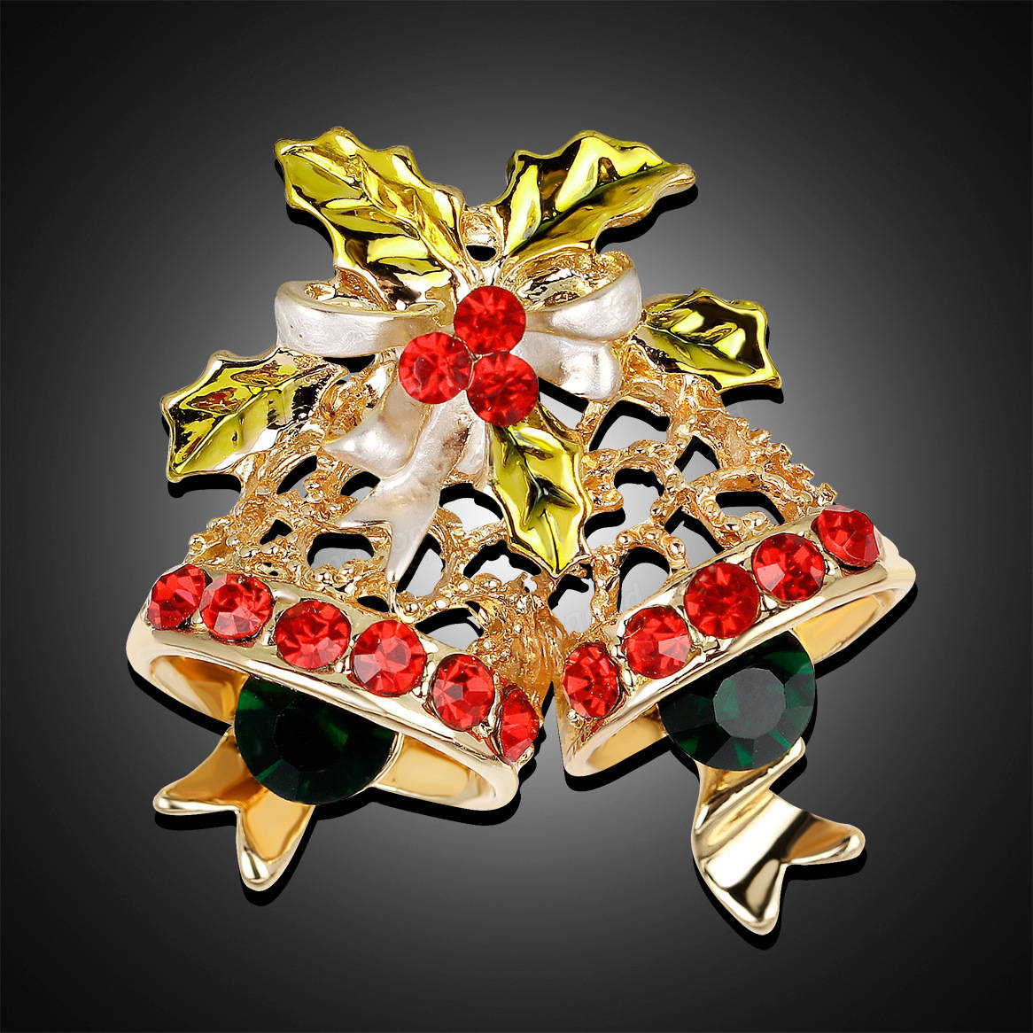 BSTAYLYEXI Fashion Rhinestone Christmas Bells Brooch Pins Women Gifts New Year Brocches