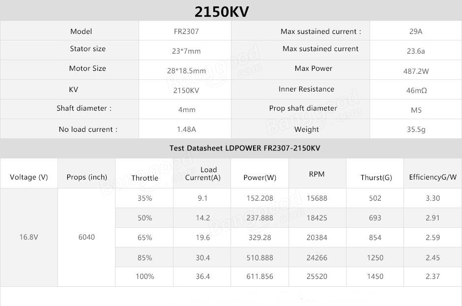 LDPower FR2307 2307 Brushless Motor 2150KV 2450KV 2600KV 2750KV For RC Drone FPV Racing Multi Rotor