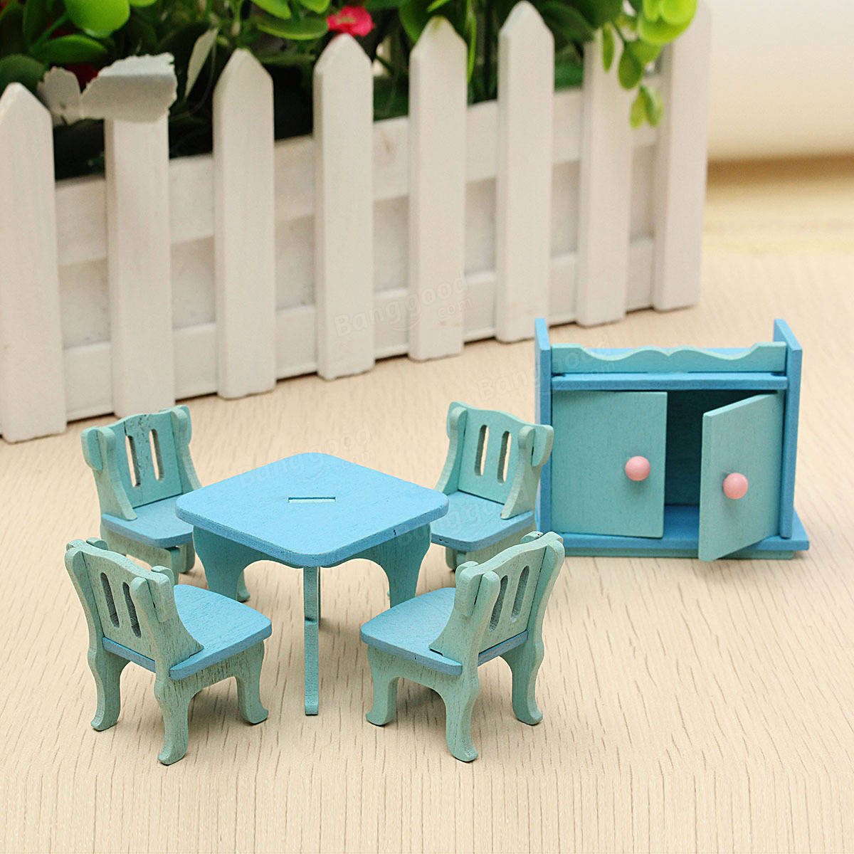 Wooden Dollhouse Furniture Doll House Miniature Dinning Room Set Kids Role Play Toy Kit Sale