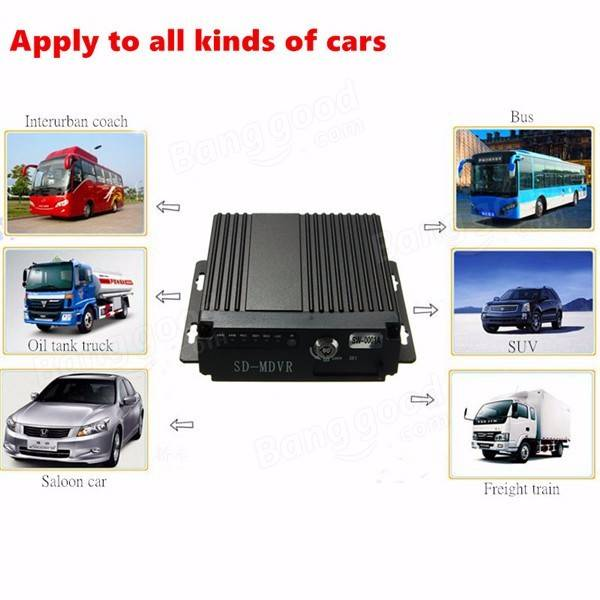 4CH Car Vehicle AHD Mobile DVR Realtime Video Audio Recorder SD Card With Remote
