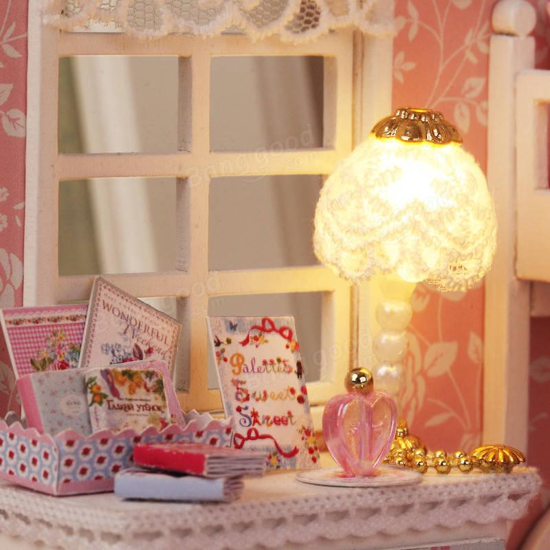 Cuteroom Diy Wood Dollhouse Kit Miniature With Furniture