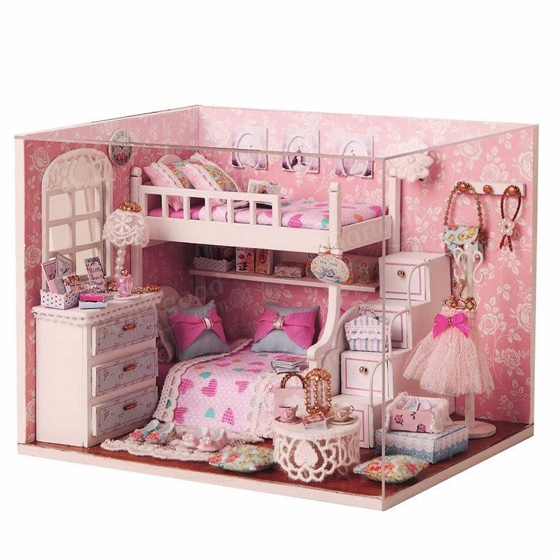 Cuteroom Diy Wood Dollhouse Kit Miniature With Furniture