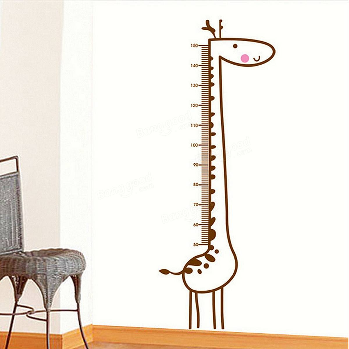 Giraffe Wall Stickers Kids Children Room Growth Chart Height Decal Measure Removable Home Decoration