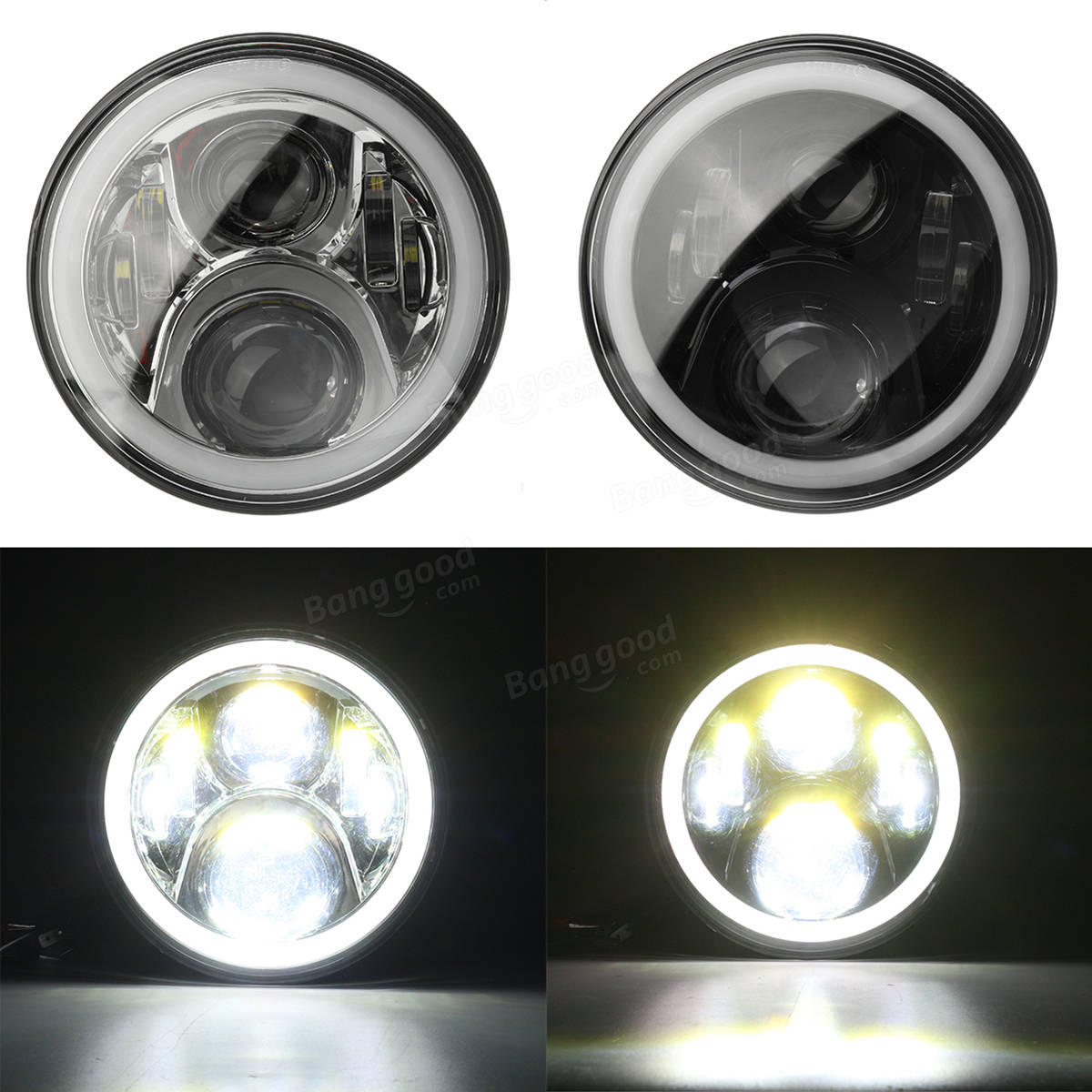 Pair 7inch H4 H13 Round RGB LED Headlight Halo DRL Hi/Lo Beam For Harley/Jeep JK 07-16