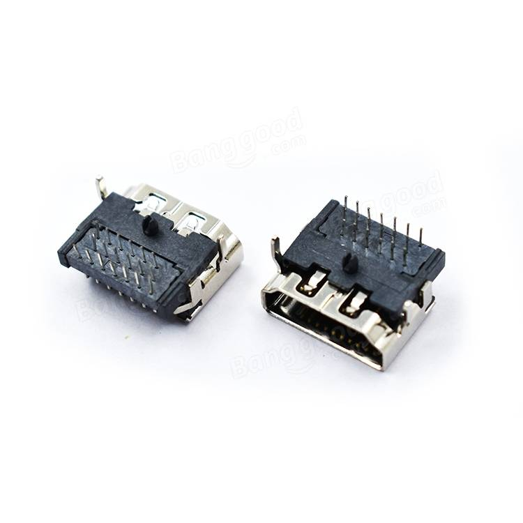 5 PCS HD Port 19P Socket Female DIP 3-Row Pin Right Angle HD Connector