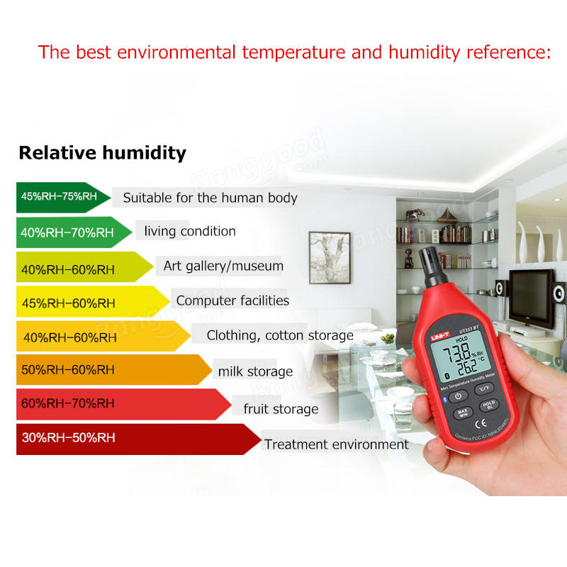 UNI-T UT333B Bluetooth Mini LCD Digital Air Temperature Humidity Meter Thermometer Hygrometer Gauge