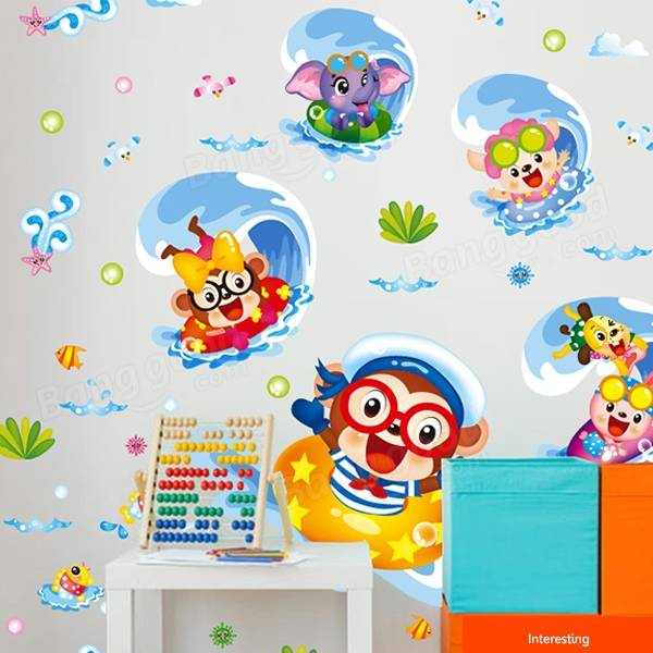 Lovely Surf Monkey Wall Sticker Kids Cartoon Room Decor Anmials Wall Sticker