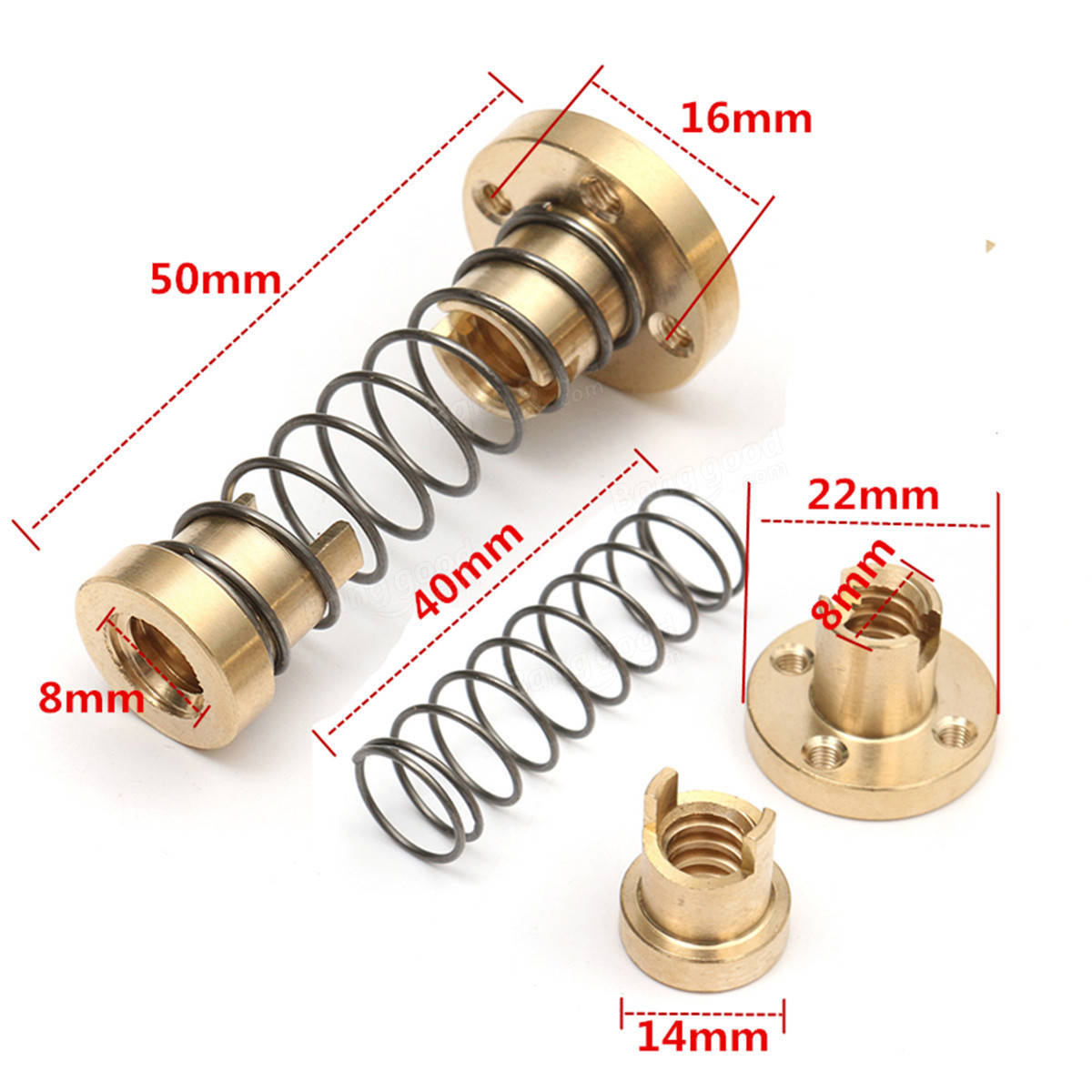 T8 Anti-Backlash Spring Loaded Nut For 2mm / 8mm Acme Threaded Rod Lead Screws