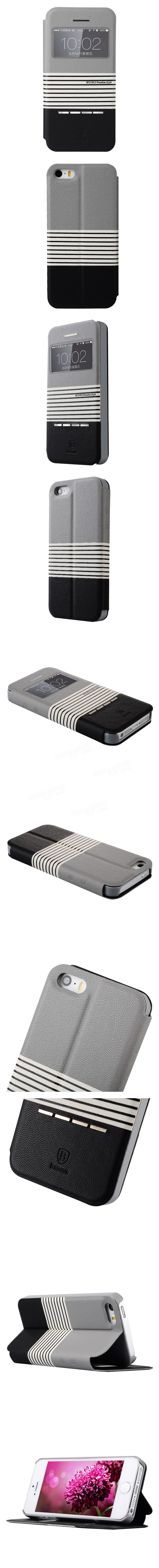 BASEUS Freedom Smart Flip Window View Stand Case Stripe Cover For Apple iPhone 5 5S