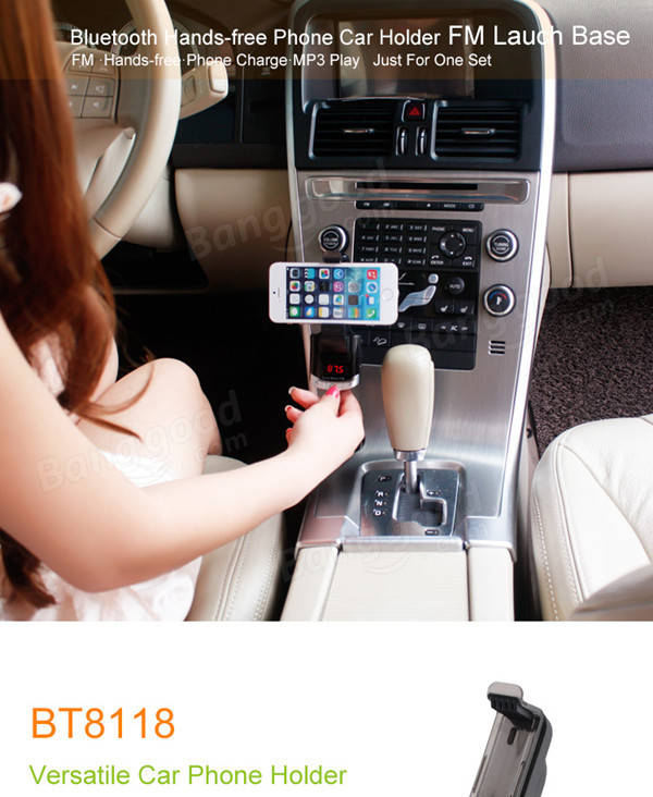 BT8118 Car MP3 Player LED Screen Wireless FM Transmitter with Smart Phone Holder with Bluetooth