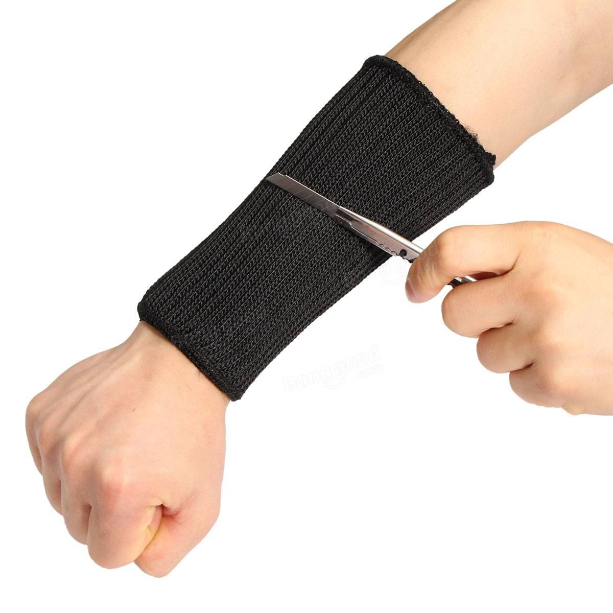 Black kevlar knife resistant arm sleeve anti cut