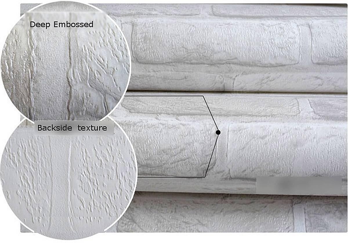 3d ziegelstein muster tapete rolle weiß grau strukturierte tapeten ...
