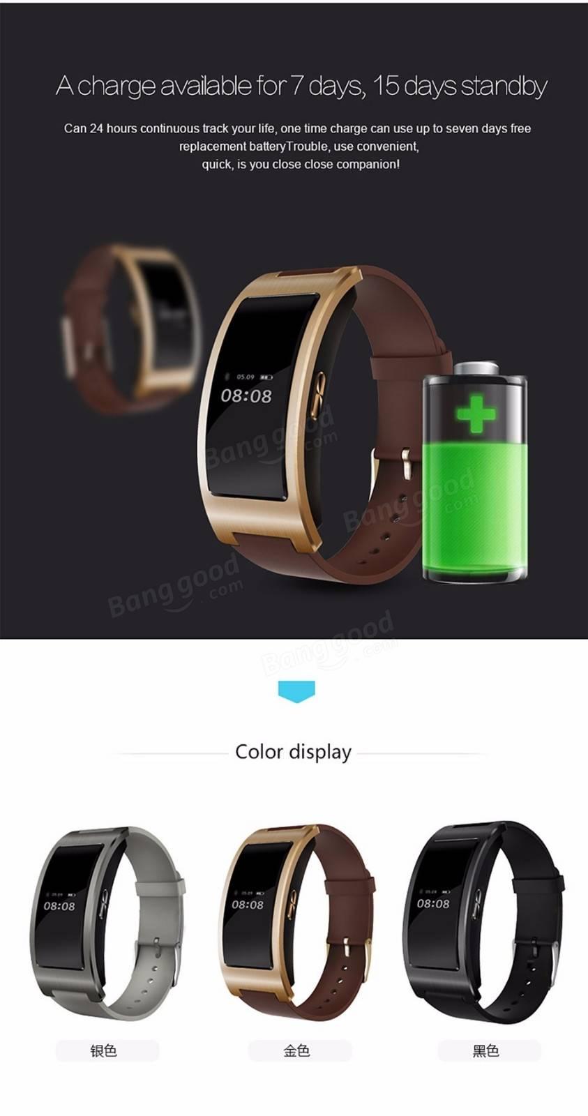 CK11 Bluetooth 4.0 Display Blood Pressure Heart Rate Monitor Smart Wristband Bracelet