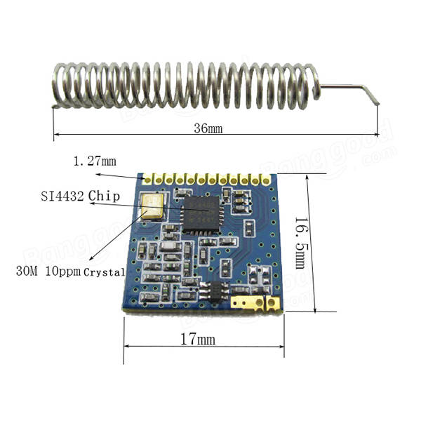 915mhz ultra small si4432 wireless transceiver module with
